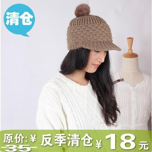 Cute rabbit fur ball cap baseball knitted hat female