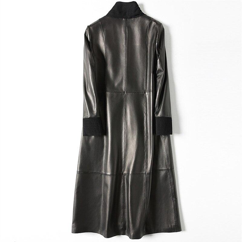 Tranchée Outwear Naturel De Black Longue Cuir Véritable Tcyeek Peau Automne Printemps En Femelle Lwl1446 Femmes Veste Mouton Manteau 0w7pxZpq
