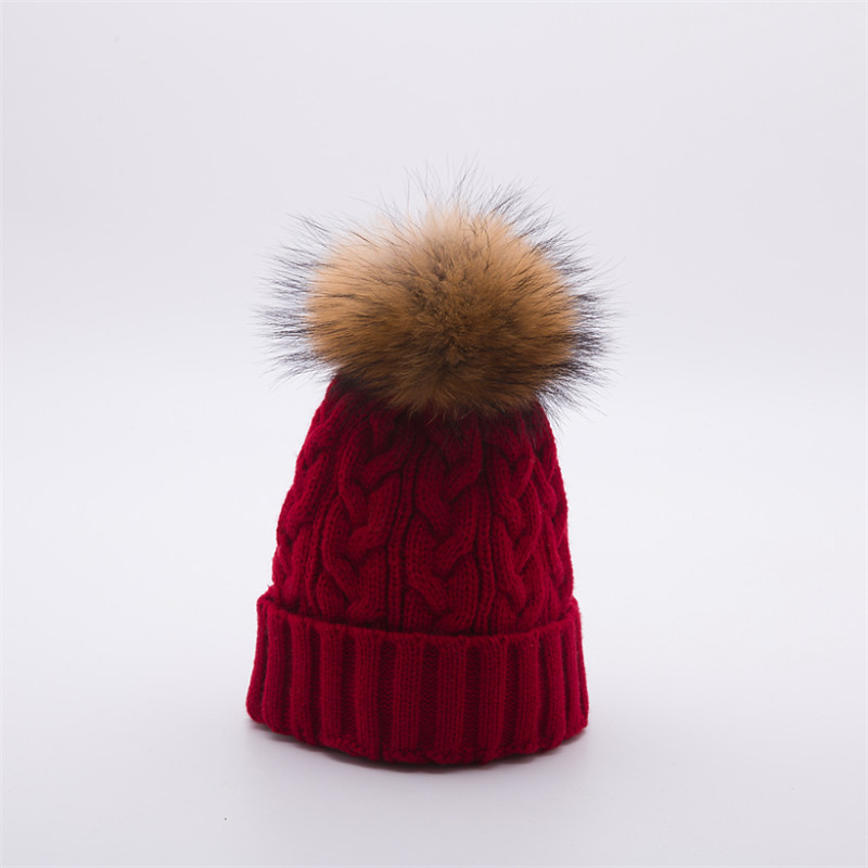 2017 Women Winter Knitted Hats Beanies Caps Raccoon Fur Ball Pom Pom Hat Warm Hats For Females Fashion casquette touca inverno mengpipi women children cotton knitted hats winter warm raccoon fur hat cap gorros de lana touca casquette cappelli bonnets