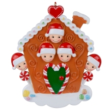 Maxora Personalized Gingerbread House Family of 5 For Christmas Home Decor, Party Souvenir