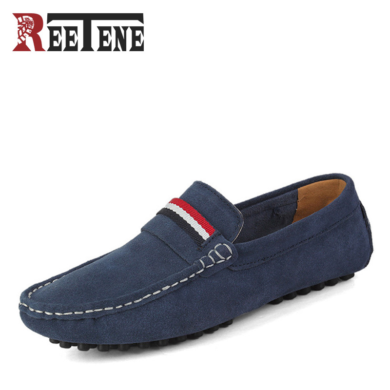 REETENE Brand Large Sizes 38-50 Cow Suede Leather Loafers Men , Casual Mens Shoes Summer Style Soft Moccasins for Men club 2017 new casual oxfords flats brand men genuine leather loafers shoes handmade moccasins shoes mens shoes large sizes 38 47