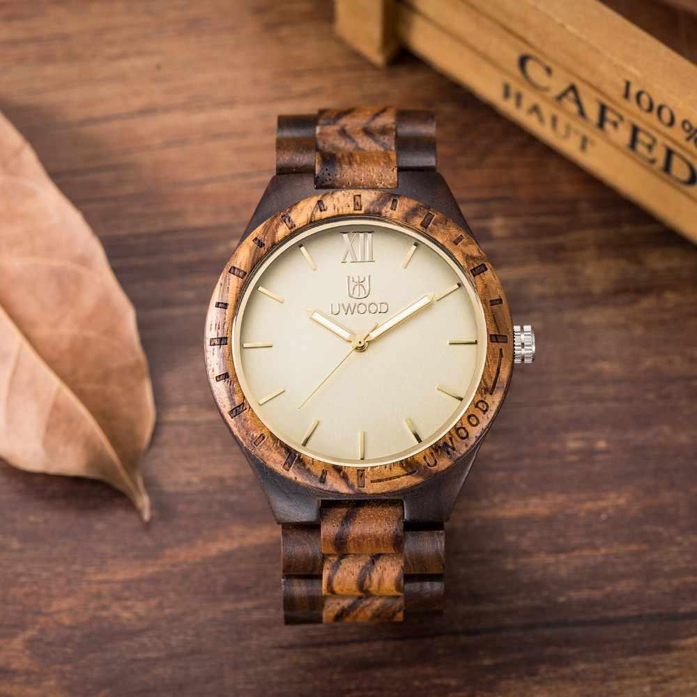 Relojes de pulsera de madera de cuarzo UWOOD brazalete de madera sandalia colorida Casual Simple Vintage hombre de negocios pulsera de marido regalo relogio masculino