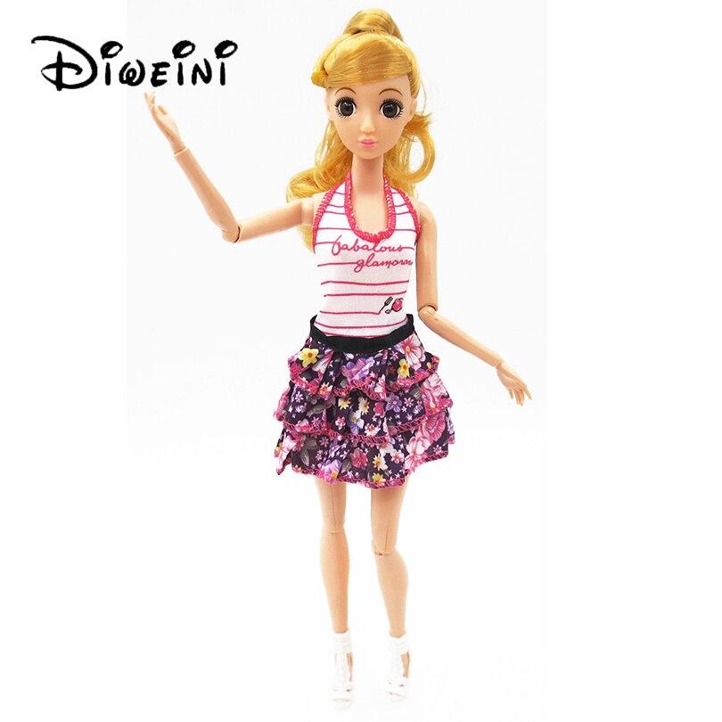 Fashion Handmade Doll Suit Clothes Skirt tshirt For Dolls Pretty Princess Doll Girls Gif ...