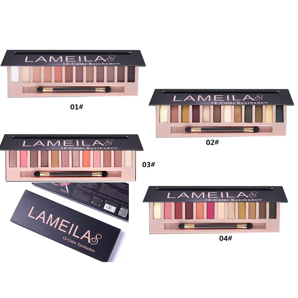 Good Lameila 12 Colors Eye Shadow Palette Earth Tone Burgundy Grapefruit Color Makeup Eye Shadow Dress Up Your Beauty Luxuriant In Design Eye Shadow