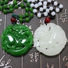 New Fashion White Green Hetian Jades Pendant Handmade Carved Pixiu Lucky Women Men's Amulet Jewelry Pendant+Beads Necklace green stone boutique burma pixiu pendant jewelry gift 1