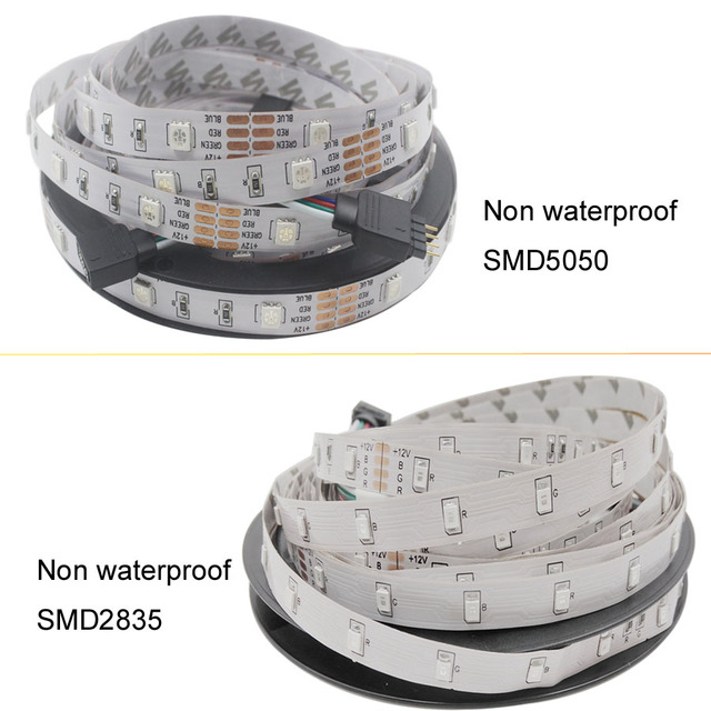 5m 10m 15m WiFi LED Strip Light RGB Waterproof SMD 5050 2835 DC12V rgb String Diode Flexible Ribbon WiFi Contoller+Adapter plug 4
