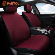 Partol автомобиль льняной ткани сиденья набор Универсальный сидений автомобилей Pad Protector авто аксессуары для интерьера красные, черные бежевые Кофе