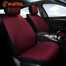 Partol Linen Fabric Car Seat Cover Set Universal Automobiles Seat Pad Protector Auto font b Interior