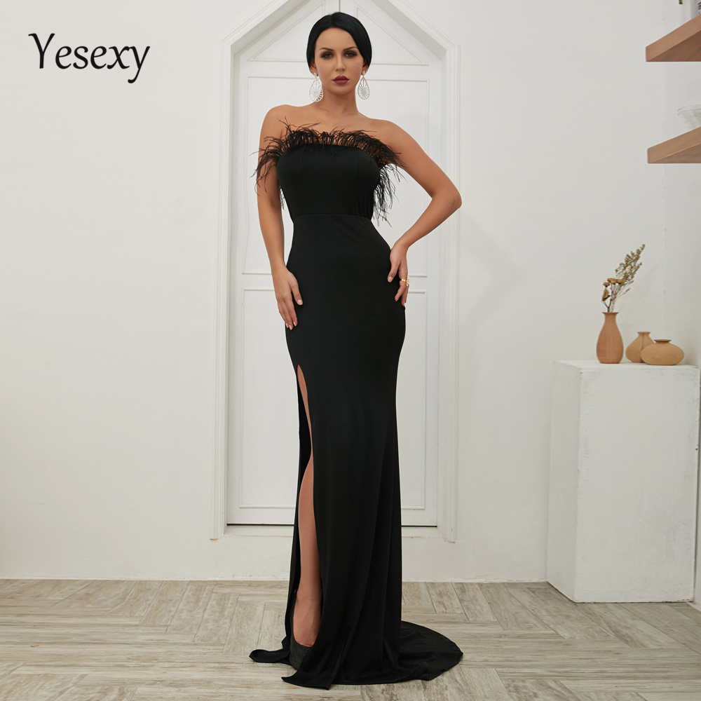 Yesexy 2019 Women Sexy Off Shoulder Tassel Backless High Split Dresses Female Maxi Elegant Party Dress