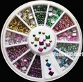 2 Styles 6 Color Metallic Rivets Plating Bright 3D Nail Art Decoration Studs Charms Sticker Wheel #21