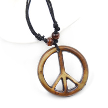 Peace Symbol Metal Pendant Necklace