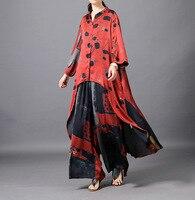 Высокая мода уличная удобные шелковые блузки + широкие брюки комплект из 2 предметов Летние повседневные брюки костюм
