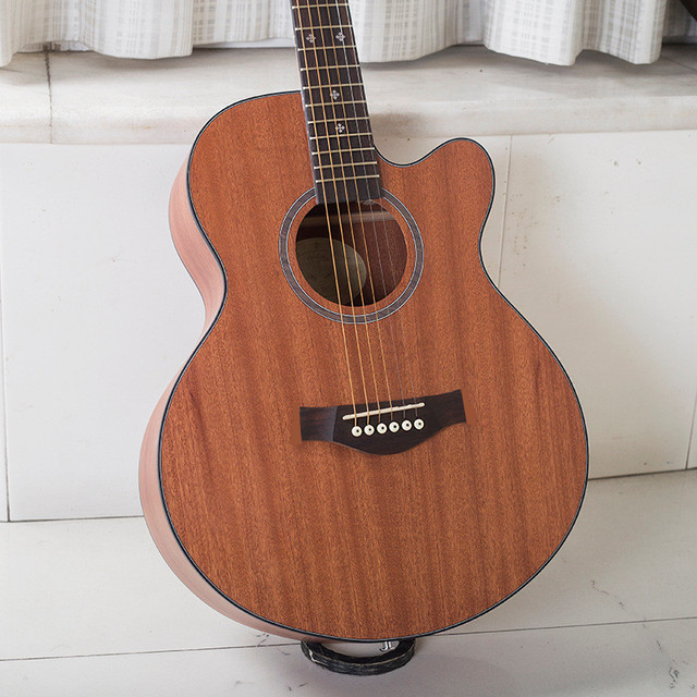 Wood Color Guitars 40 44 40 Inch Sapele Wood Electric Acoustic