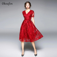 OKOUFEN Embroidered Dresses Show the Same Style of Spring and Summer 2019 V collar Short sleeved Feather Embroidery Lace ZX0001