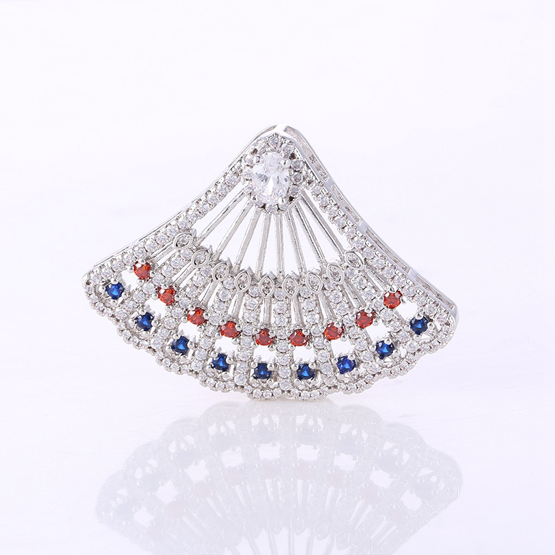 Luxury Crystal Rhinestone Jewelry Findings Accessories Fan-shaped Big Pendant For DIY Beaded Pearls Necklace Components