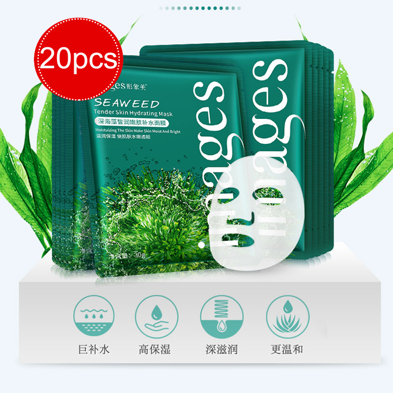 Professional Face Mask 2/5/10/20pcs Seaweed Moisturizing Masks Hydrating Smooth Shrink Pores Skin Care Facial Mask Women Beauty