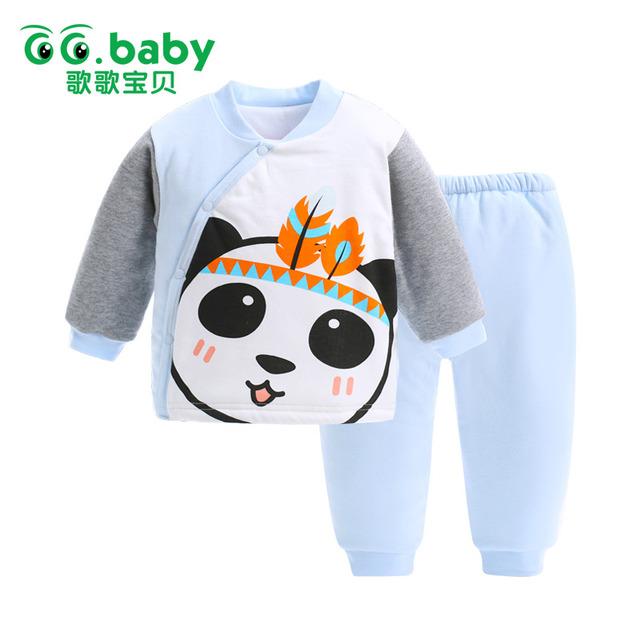 2 pcs Inverno Animais Panda Do Bebê Se Adapte Às Roupas de Inverno Roupas de Bebê conjunto Terno Topos Quentes Calças Infantis Bebes Recém-nascidos Roupas de Menina conjuntos