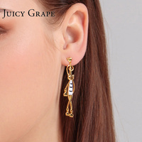 Juicy Grape Enamel Black and White Cat Earrings Female Long Temperament Personality Simple Stud Earrings Jewelry Tide