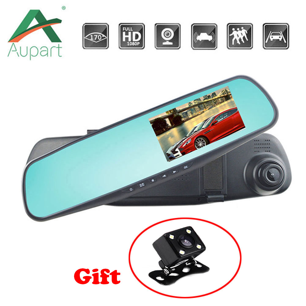 "4.3 ""car Dvr Dual Lens Car Camera Rearview Mirror Auto Dvrs Cars Recorder Video Registrator Full Hd 1080p Night Vision Dash Cam"