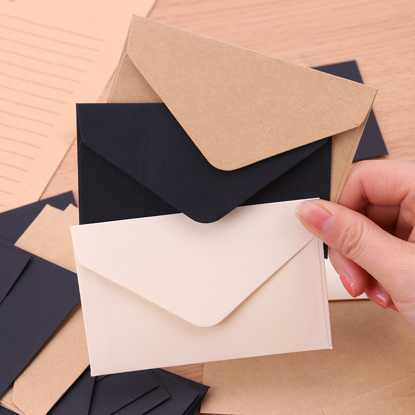 20PCS Kraft Blank Mini Paper Envelope Kraft White Black Paper Envelope Message Card Letter Stationary Storage Paper Gift