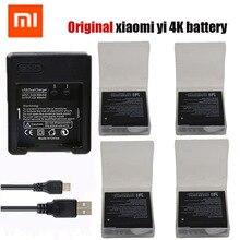 Оригинальный 4 шт. Xiaomi Yi 4 K аккумулятор + зарядное устройство USB двойной Bateria Yi 4 К для оригинальный Xiaomi Yi 2 Сяо Yi 4 К Камера Интимные аксессуары