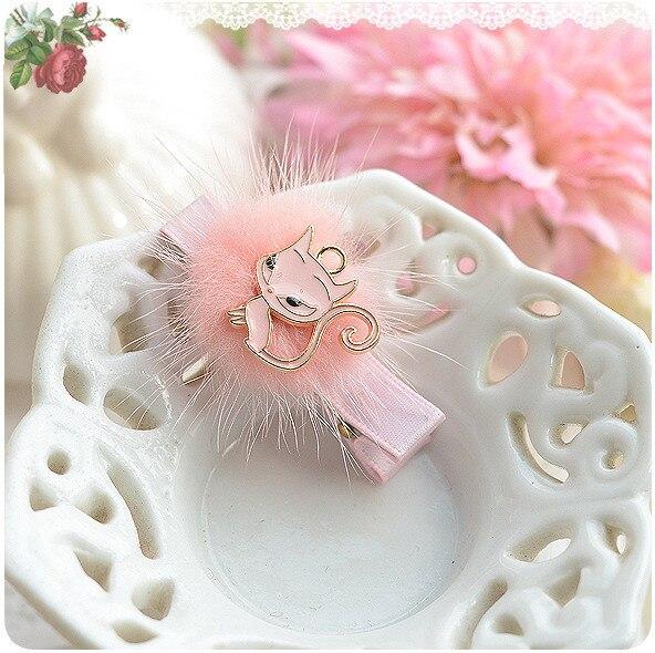 Pearl Flower Golden Crown Faux Fur Cat Baby Girls Hair Clip Hairpin Hair Accessories Kids Children Headwear kk1201 цены