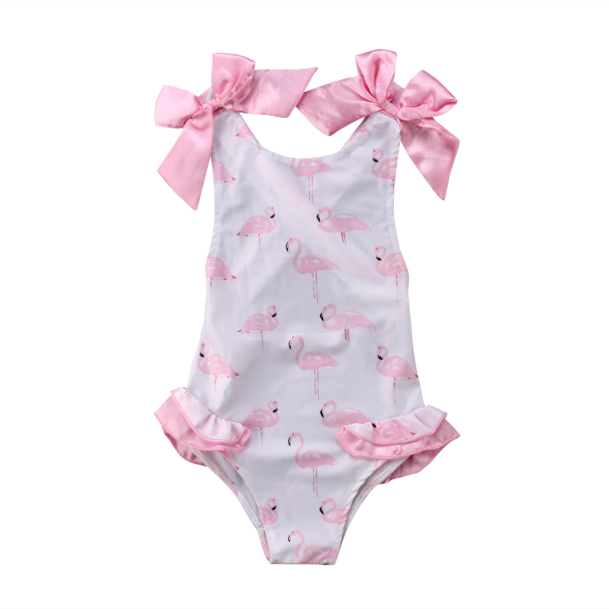 Cute Swimsuit Baby Girls Bowknot Back Cross Swimwear Flamingos One-Piece Bathing Suits Summer Tulle Tutu Swimming Costume