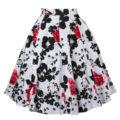 Novas mulheres vintage floral midi saia swing saias retro impressão verão femme elegante flor de cintura alta saia