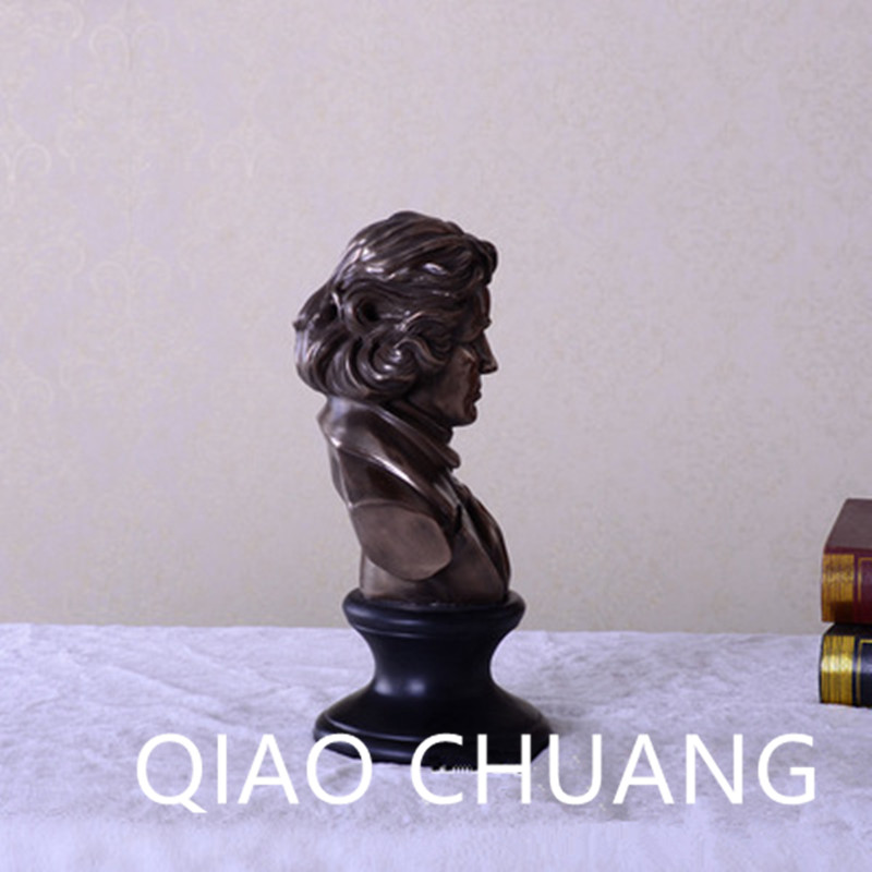 Musician Ludwig Van Beethoven Western Classical Composer Chill Casting Copper Head Sculpture Colophony Crafts Decoration G1004