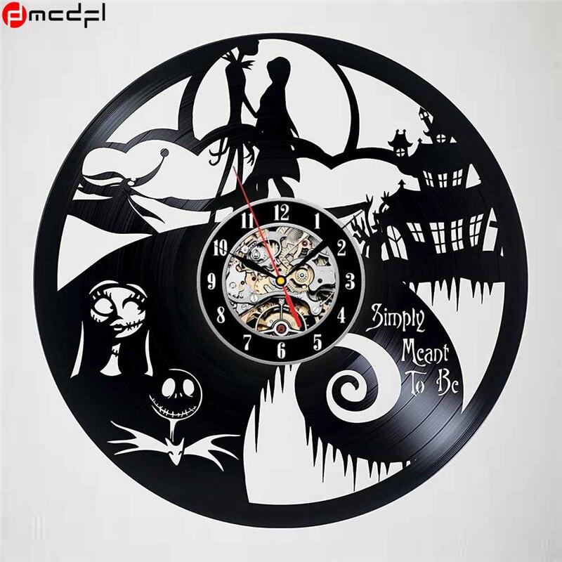 aliexpresscom buy home decor the nightmare before christmas design vinyl wall clock halloween wall clock sticker from reliable vinyl clock suppliers on