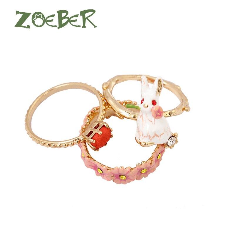 Zoeber New Style Adjustable Rabbit and Flower Wedding Rings Women Men 3D Enamel Glaze Couple Cute Promise Animal Ring RJ2122 цена в Москве и Питере