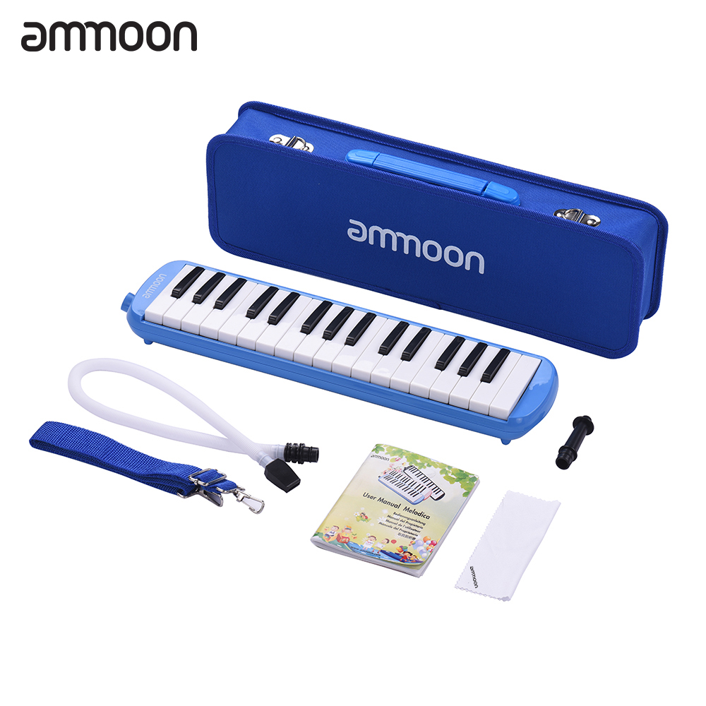 ammoon <font><b>32</b></font> <font><b>Keys</b></font> <font><b>Melodica</b></font> Piano Style Keyboard Harmonica Mouth Organ with Mouthpiece Cleaning Cloth Carry Case for Musical Gift image