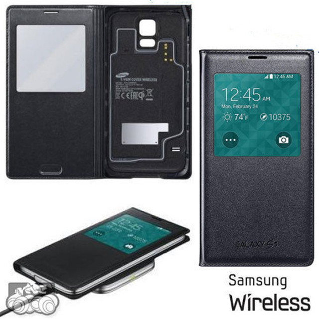 various colors d351f e7be8 US $24.99 |100% Original Genuine Samsung SM G900 G900F Galaxy S5 S VIEW  Wireless charging Charger Cover case black white on Aliexpress.com |  Alibaba ...