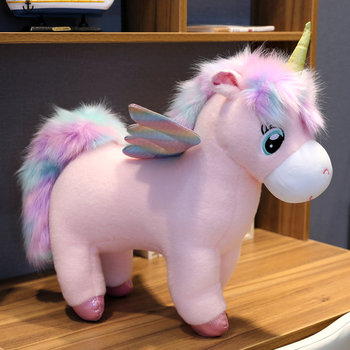 30~80cm Unique Glowing Wings Unicorns Plush toy Giant Unicorn Stuffed Animals Doll Fluffy Hair Fly Horse Toy for Child Xmas Gift