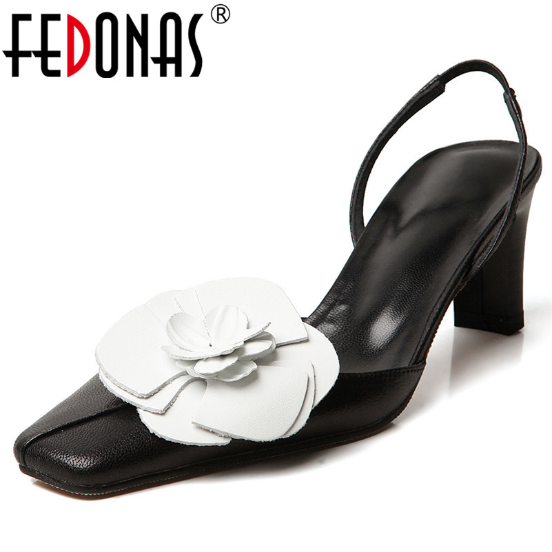FEDONAS Women High Quality Genuine Leather Sandals Square Heel Rome Pumps Summer Party Working Casual High