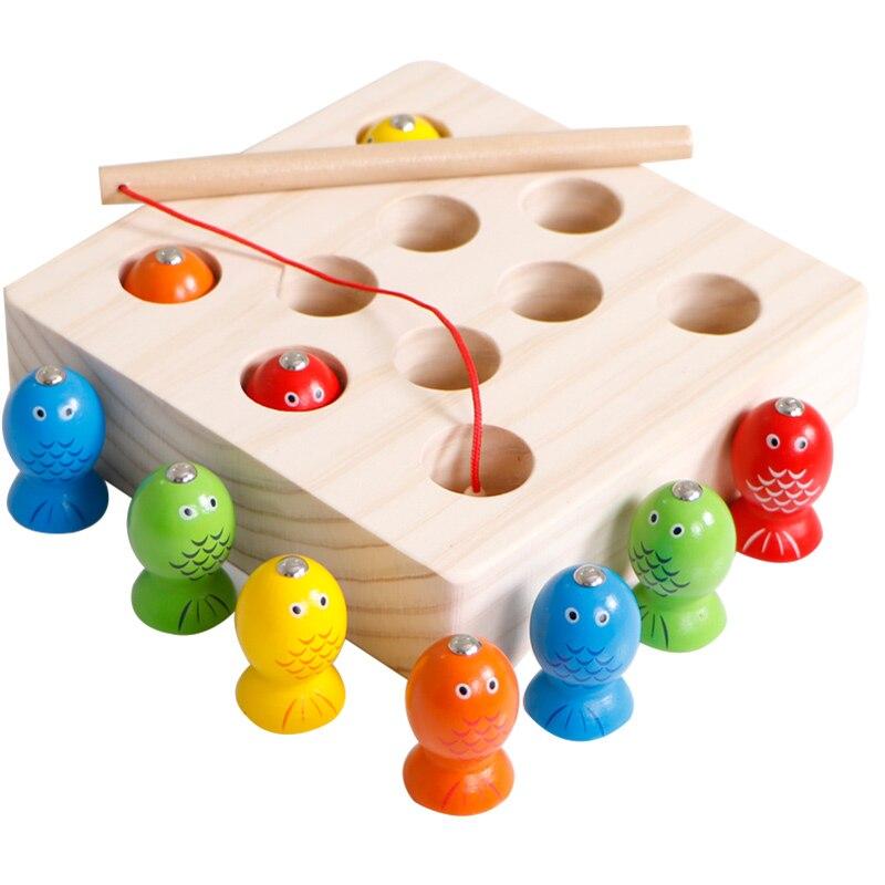 Pesca magnético de madera juguetes bebé Montessori juguetes educativos para niños Aprendizaje Temprano Montessori materiales UD0564H