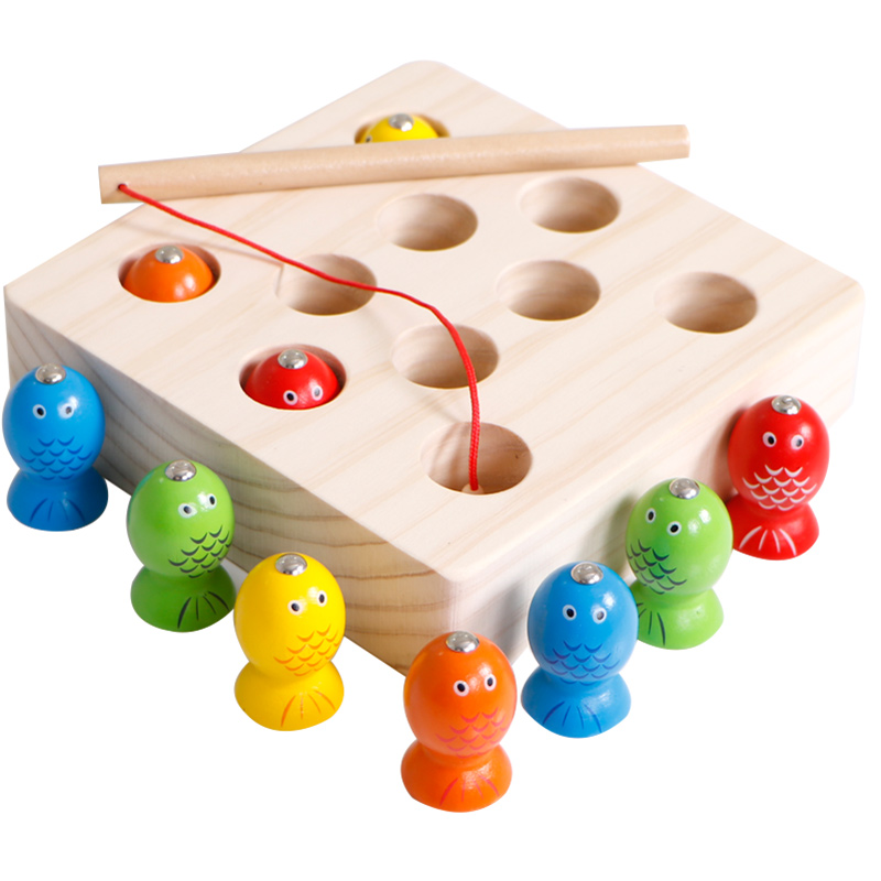 Wooden Magnetic Fishing Toys Set Baby Montessori Educational Toys For Children Early Learning Montessori Materials UD0564H цена