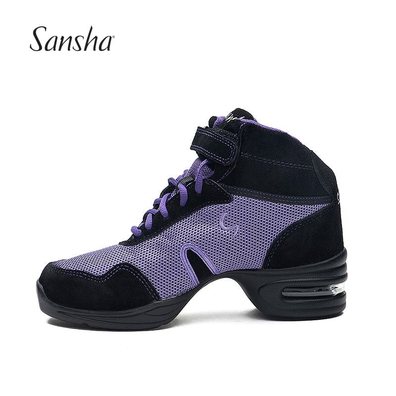 Sansha Breathable Mesh Dance Sneakers Purple And Black Jazz Salsa Modern Dance Shoes H53M