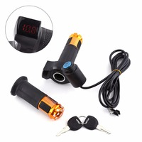 1 Set 5Wire 2Meters Electric Bike Twist Throttle Grips With LED Display Screen Handle With Key