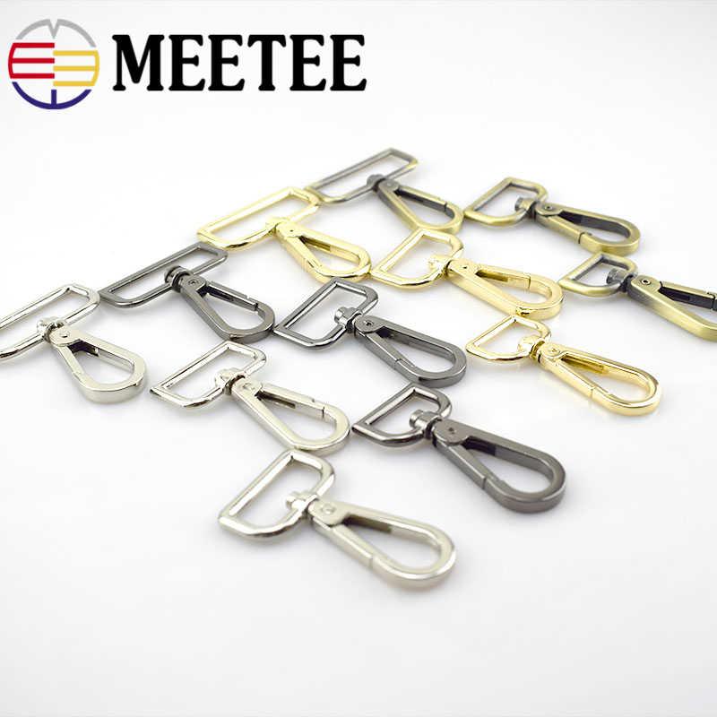 2 pces meetee 20/25/32/38/50mm metal saco fivela carabinas giratória lagosta fecho snap gancho chave cinta de couro ferragem acessório