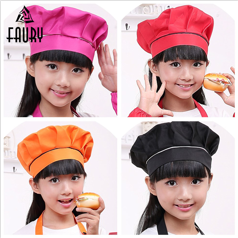 Kid Chef Hat Children's Cute Baking Hat Girls Boys Food Service Kitchen Work Caps Solid Pleated Top Painting Hats Wholesale