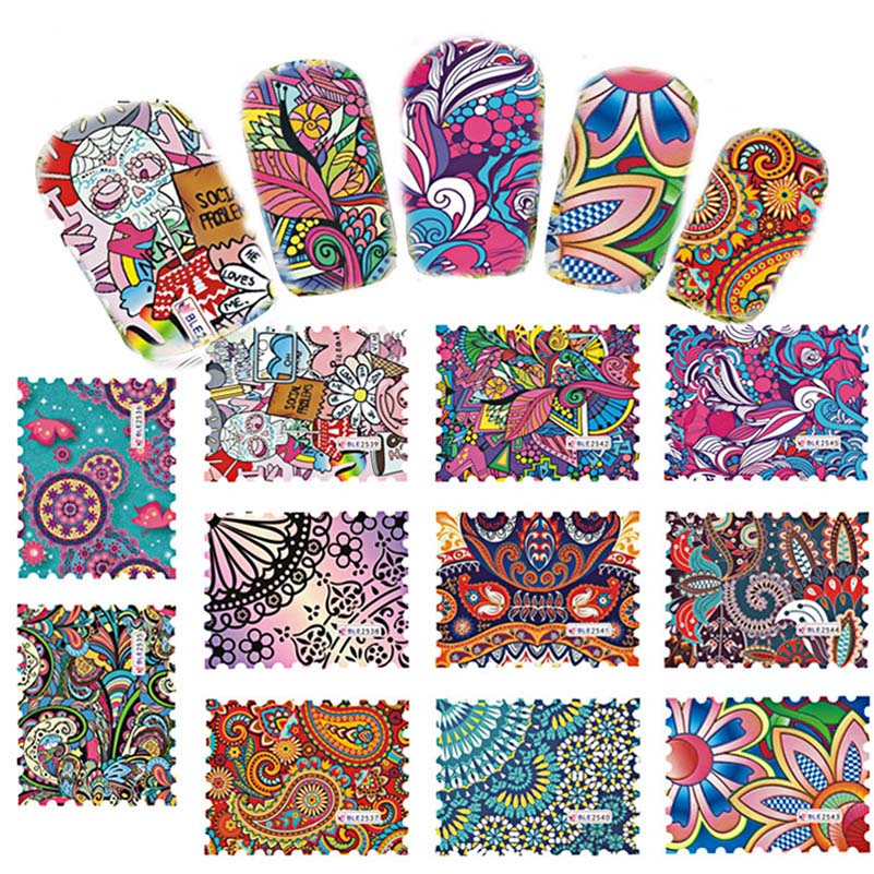 44Pcs/Set Multicolor Mixed Nail Sticker DIY Full Cover Sticker Fashionable Fancy Design Decals Nail Art Beauty Decoration Finger