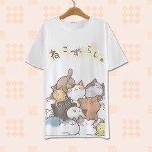 2017 Summer Harajuku Shirt Neko Atsume Anime Cartoon Japanese Kawaii Clothes Casual Female T-shirt Cat Tops Tee Lolita