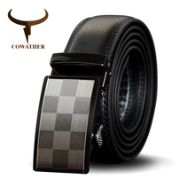 COWATHER High Quality Cow Genuine Leather Men Belt Cowhide Male Strap Automatic Buckle Belts Fashion New Alloy Straps