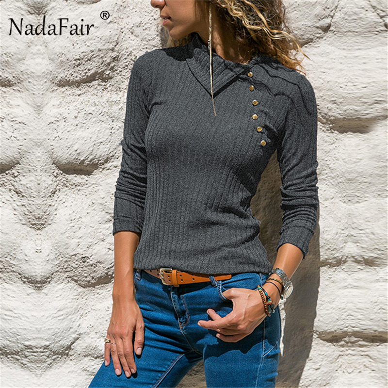Nadafair Fashion Casual Long Sleeve Sweater Women Clothes Knit Tops Wrap Pullovers Warm Autumn/Winter Sweaters Female