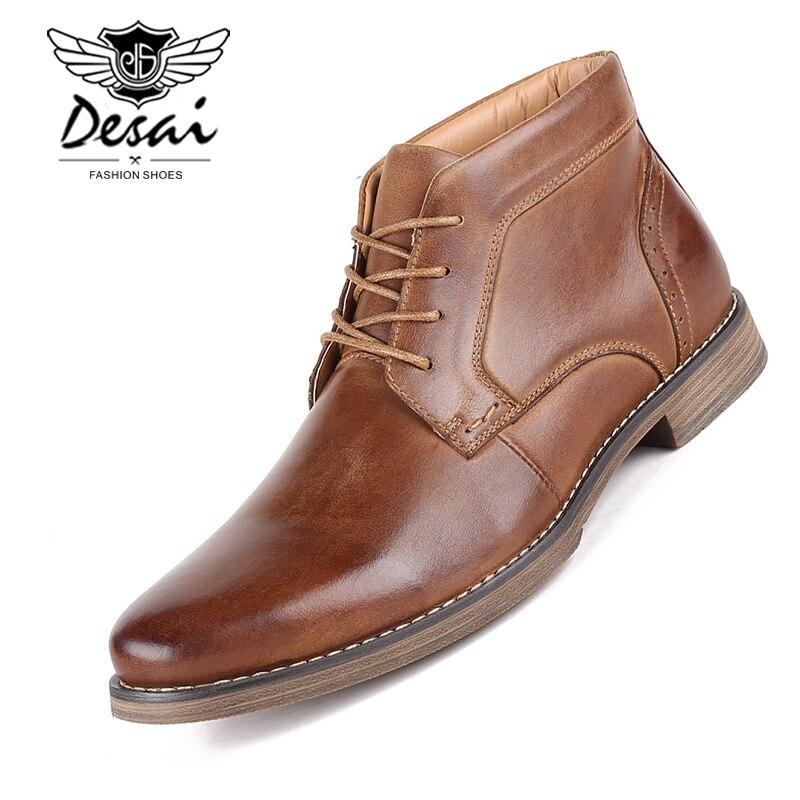 DESAI High Quality Men s High Boots Winter Plus Velvet Shoes Large Size Shoes Men Genuine
