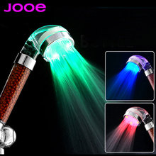 Jooe из светодиодов душ голова цветов отрицательный ион насадка для душа датчик температуры 3 цвета света abs души фильтр аксессуары для ванной комнаты душевая лейка для душа
