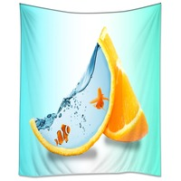 HommomH Tapestry Art Decor Wall Hanging in Dorm Living Room Bedroom Magical Orange Water Tropical Fish