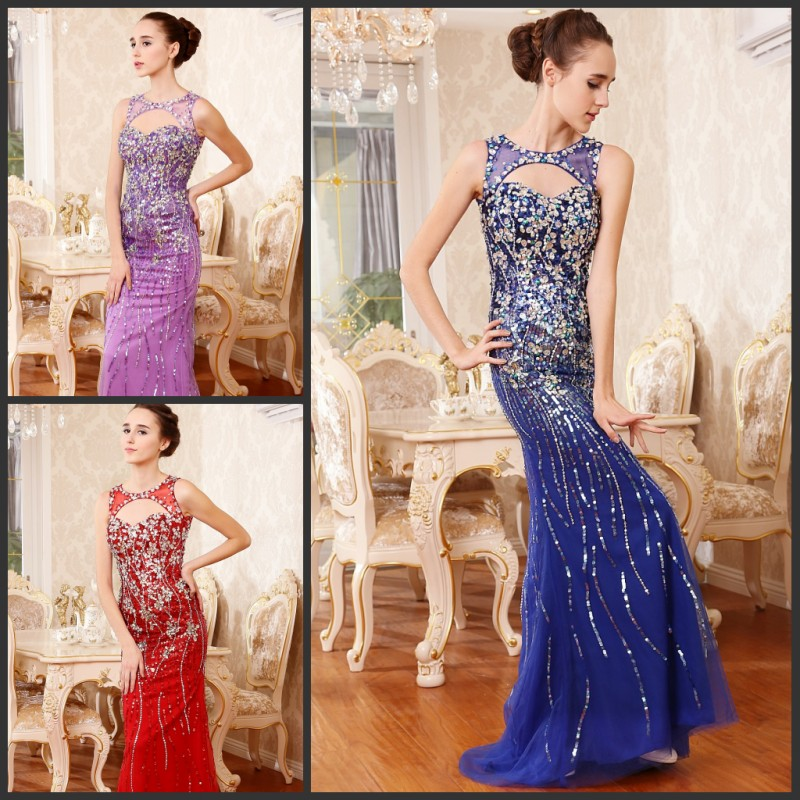 Livraison gratuite 2013 luxe cristal perlé dos nu formelle mariées violet long sexy tulle robes de soirée robes de bal