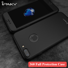 IPaky 360 градусов Полная защита тела матовая PC чехол для iPhone 6 6S 7 Plus 5 5S SE с Закаленное стекло для iPhone 6 S Чехол